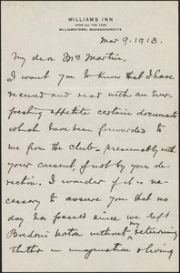 B.M. Leod autograph letter signed to [Victoria Woodhull] Martin, Williamstown, Mass., March 9, 1913