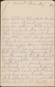 A. Leyman autograph letter signed to Victoria [Woodhull Martin], Onset, Mass., May 1897
