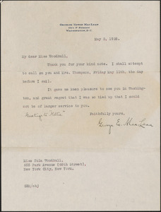 George E. MacLean typed letter to [Zula] Woodhull, Washington, D.C., May 2, 1928