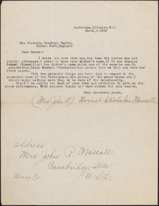 Harriet S. Mascall typed letter signed to Victoria Woodhull Martin, Cambridge, Ill., March 4, 1926