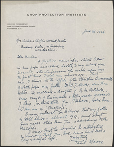 Paul Moore autograph letter signed to [Victoria Woodhull Martin], Washington, D.C., June 21, 1926