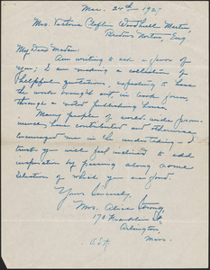 Alice Strong autograph letter signed to Victoria Woodhull Martin, Arlington, Mass., March 2, 1927