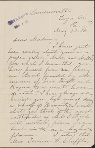 B. L. Taylor autograph letter signed to [Victoria Woodhull Martin], Lawrenceville, Pa., May 23, 1886