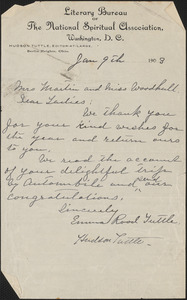Hudson Tuttle autograph letter signed to [Victoria Woodhull] Martin and [Zula Maud] Woodhull, Washington, D.C., January 9, 1903