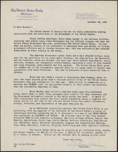 Jay J. Williams typed letter signed (circular) to [Zula Maud] Woodhull, Washington, D.C., December 24, 1926