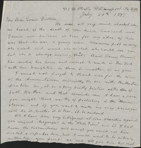 Autograph letter (fragment) to Victoria [Woodhull Martin], Williamsport, Pa., July 25, 1897