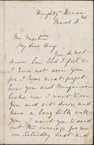 Autograph letter signed to Mr. Martin, [London], March 3