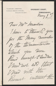 Autograph letter signed to Mrs. Martin, Tewkesbury, England, May 9, [1897]