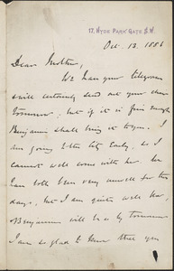 John [Biddulph Martin] autograph letter signed to [Mary Anne Martin], London, October 13, 1881