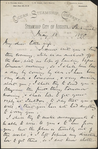 [John Biddulph Martin] autograph note to [Victoria Woodhull Martin], Savannah, Ga., May 12, 1890