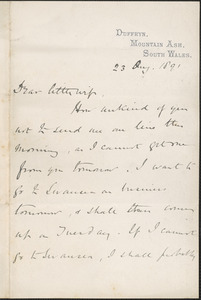 [John Biddulph Martin] autograph note signed to [Victoria Woodhull Martin], Duffryn, South Wales, August 23, 1891