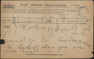 [John Biddulph Martin] telegram to [Victoria Woodhull Martin], Mountain Ash, [South Wales], August 24, 1891