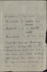 Autograph note (incomplete), Taoro, Tenerife, [March 1897?]