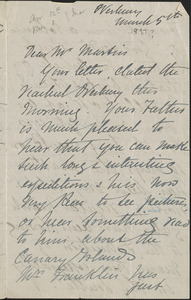 Autograph letter signed to [John Biddulph] Martin, Tewkesbury, March 5, [1897?]