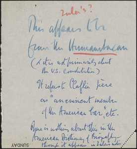 Autograph note, [approximately 1890s?]