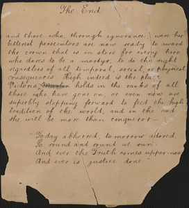 Autograph document: The end, [approximately 1927?]