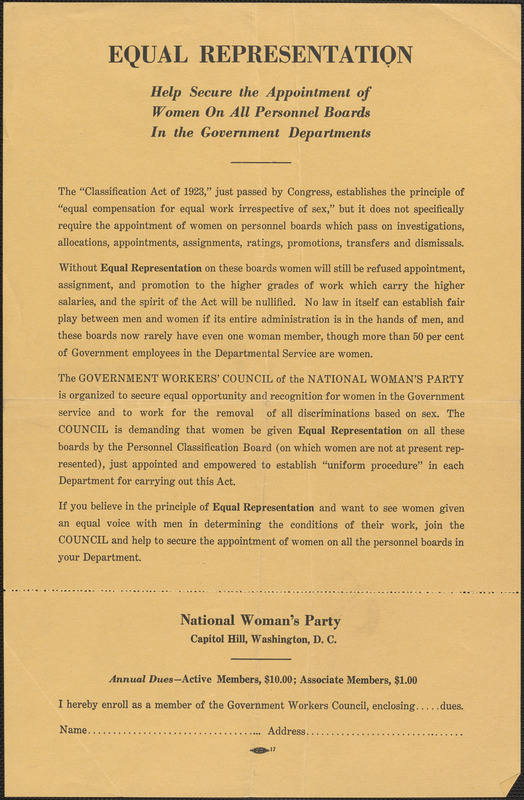 National Woman's Party handbill: Equal representation, Washington, D.C., approximately 1923