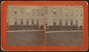 Chinese workers outside Sampson Shoe Factory (dark clothes)