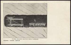 Tunnel heading showing drill carriage