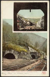 East portal Hoosac Tunnel showing abandoned tunnel ; looking out west portal, Hoosac Tunnel