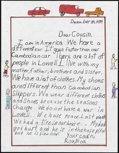 Dear Cousin, I am in America