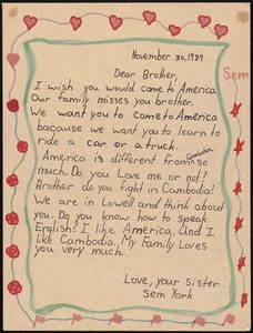 Dear Brother, I wish you would come to America