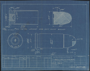 Blueprint of a primer anvil and the end of a shell