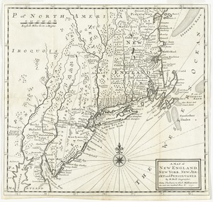 A map of New England, New York, New Jersey and Pensilvania