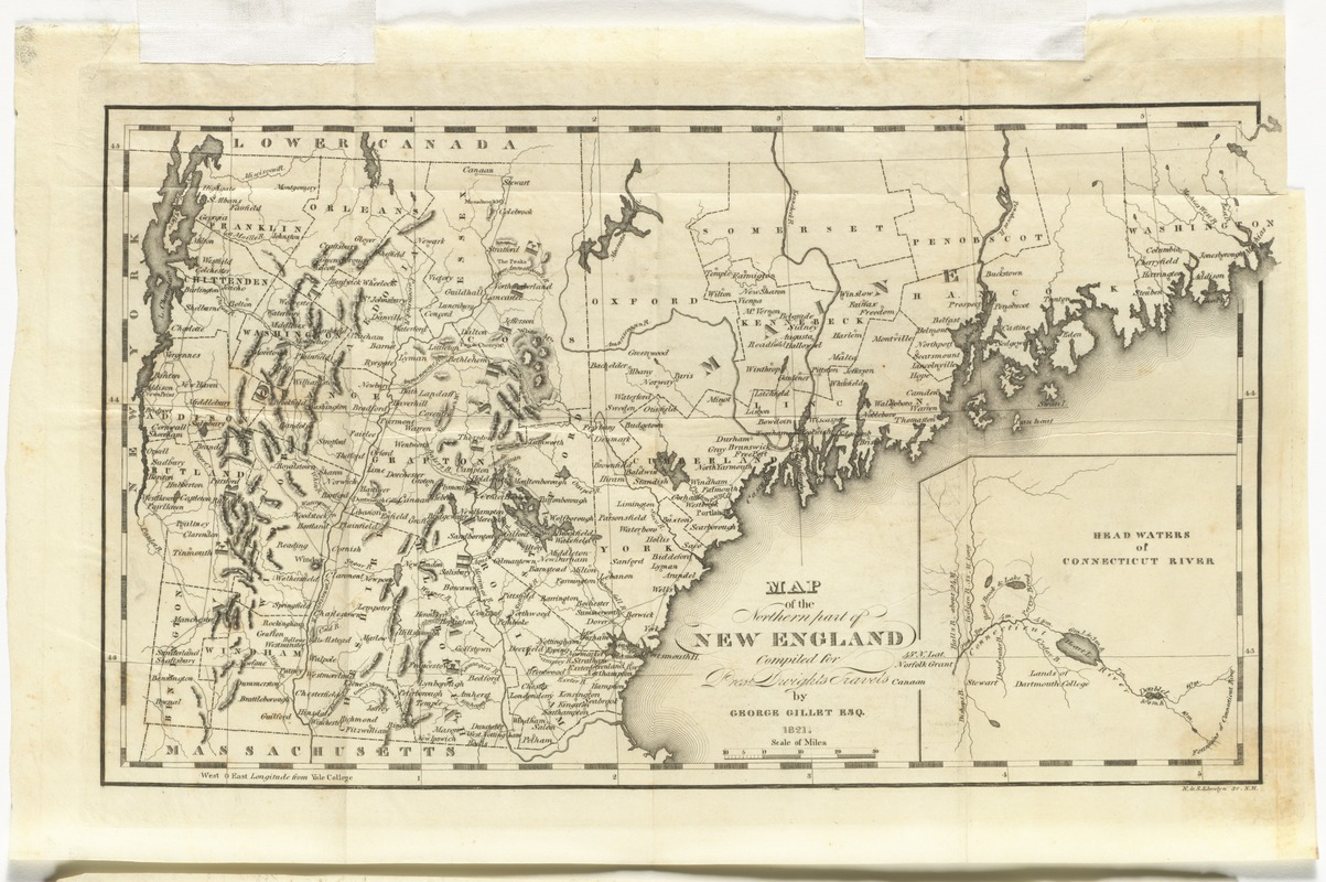 Map of the northern part of New England