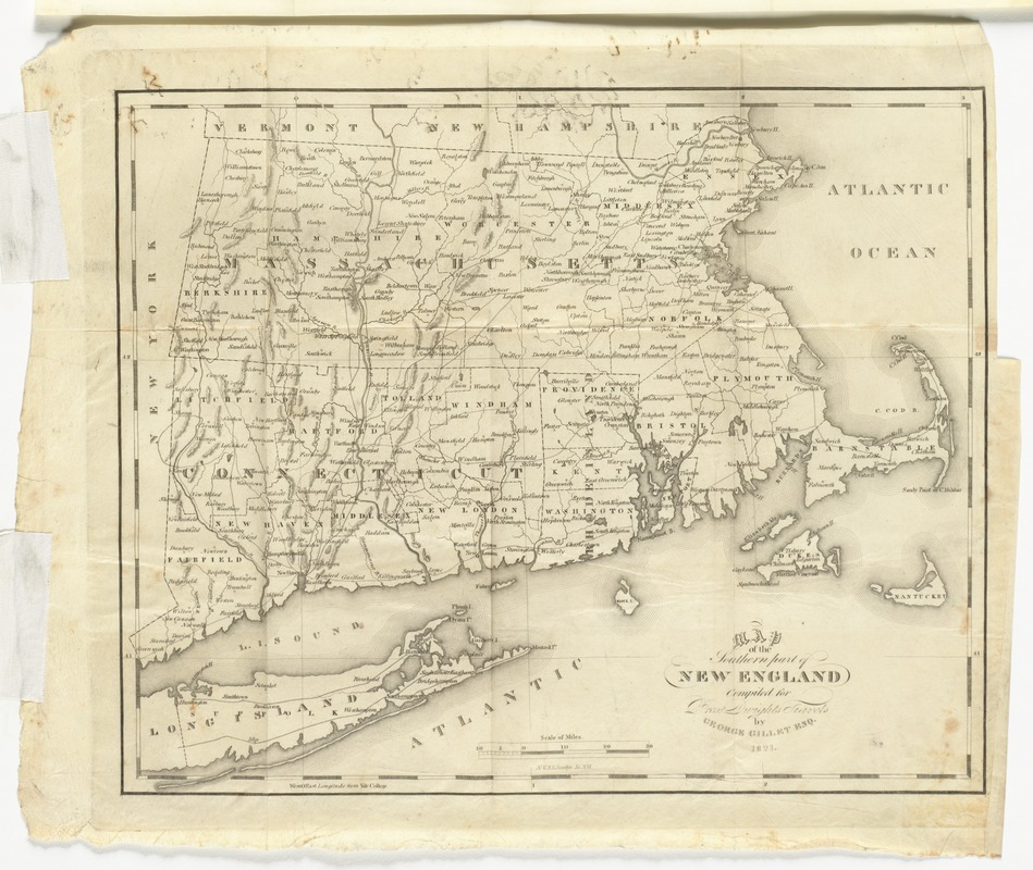 Map of the southern part of New England