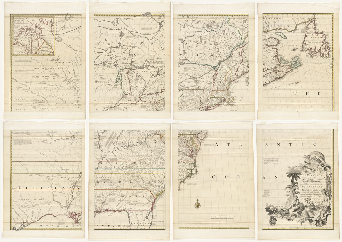 A map of the British and French dominions in North America with the roads, distances, limits, and extent of the settlements, humbly inscribed to the Right Honourable the Earl of Halifax, and the other Right Honourable the Lords Commissioners for Trade & Plantations