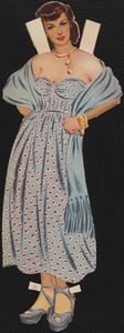 Ava Gardner paper doll in outfits with hands on hips