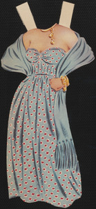 Clothes for Ava Gardner paper doll with hands on hips