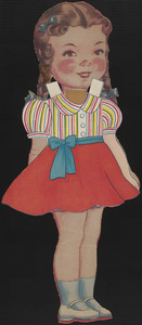 Paper doll of young girl with braids in outfits