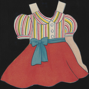 Clothing with attached accessories for paper doll of young girl with braids
