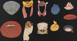 Accessories for paper doll of blonde woman with hands out