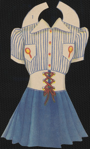 Clothing for paper doll of blonde woman with hands out