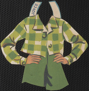 Joyce paper doll clothing with some attached accessories