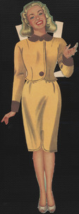Betty Grable paper doll in outfits with hands out