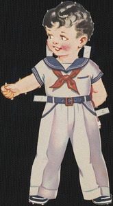 Bob paper doll in outfits with head turned to the left