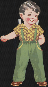 Bob paper doll in outfits with head turned to the right