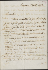 Letter from Joshua Bates, London, to Mayor Benjamin Seaver, Boston, 1852 October 1