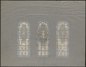 """Typical design for clerestory window, """"The Beatitudes,"""" S. Joseph's Church, New Bedford."""