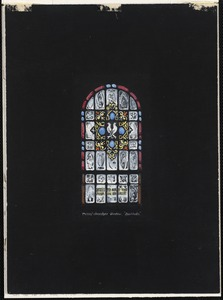 """Typical clerestory window, """"Beatitudes."""" Blessed are the poor in spirit."""