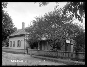 Wachusett Reservoir, James M. Wilson's house, on the southeasterly corner of Wheeler and Thomas Streets, from the southwest, Oakdale, West Boylston, Mass., Jun. 23, 1898