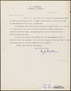 Letters of correspondence between E. J. Bugbee, principal, and Miss Nellie Coffey, graduate