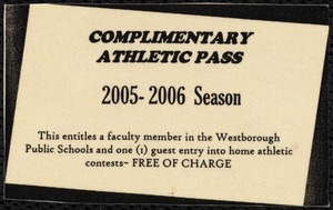 Artifact [realia], complimentary athletic pass
