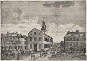 View of the Old State House from Washington Street, 1791
