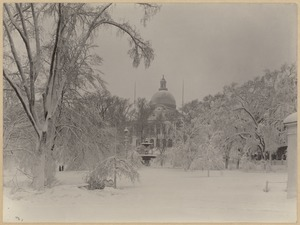 View of Beacon Street State House in winter
