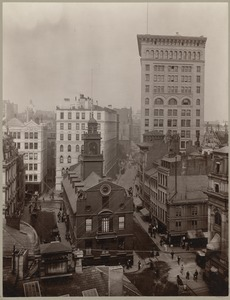 Boston, Massachusetts. State and Court Streets showing rear of Old State House